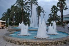 Singing fountain in Salou Spain Royalty Free Stock Photo