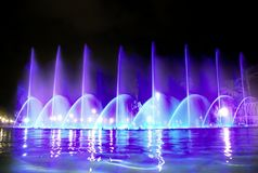 Singing fountain in Salou Spain. The singing fountains. One of the most interesting dostoprimechatelsty Salou Costa Dourada in Spain. The fountain changes the royalty free stock photos