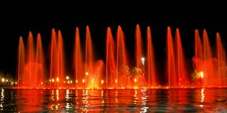 Singing fountain in Salou Spain. The singing fountains. One of the most interesting dostoprimechatelsty Salou Costa Dourada in Spain. The fountain changes the stock images