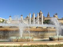 Singing fountains on the background of the National Palace. Barcelona. Singing fountains on the background of the National Palace at the foot of the Montjuic Stock Images