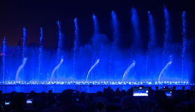Singing fountains. Glowing colored fountains and laser show Stock Photography