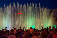 Singing fountains on the on Maidan Nezalezhnosti Independence S Royalty Free Stock Image