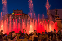 Singing fountains on the on Maidan Nezalezhnosti Independence S Royalty Free Stock Images