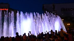 Singing fountains on the on Maidan Nezalezhnosti Independence S stock footage