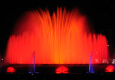 Singing fountains. Night show of singing fountains in Barcelona. Spain Royalty Free Stock Image
