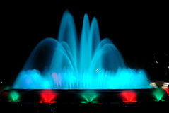 Singing fountains. Night show of singing fountains in Barcelona. Spain Royalty Free Stock Photography