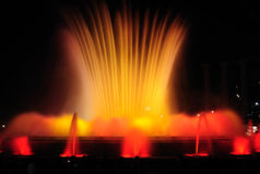 Singing fountains. Night show of singing fountains in Barcelona. Spain Stock Images
