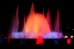 Singing fountains. Night show of singing fountains in Barcelona. Spain Stock Photos