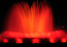 Singing fountains. Night show of singing fountains in Barcelona. Spain Royalty Free Stock Photos