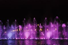 Singing fountains. The singing fountains. One of the most interesting dostoprimechatelsty Salou Costa Dourada in Spain. The fountain changes the colors and Stock Images