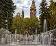 Singing fountains and Saint Elisabeth Cathedral in Kosice, Slovakia Royalty Free Stock Photography
