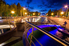 Singing fountains. Twilight Stock Images