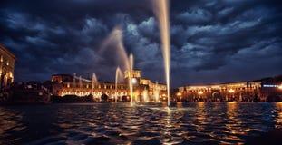 Singing Fountains Yerevan attraction, erevan, fountain, illumination, landmark, light, night, people, performance. Singing Fountains Yerevan public, purple, show Stock Photography