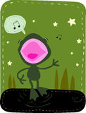Singing Frog. Illustration of a little frog singing in the night Stock Image