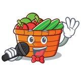 Singing fruit basket character cartoon. Vector illustration Royalty Free Stock Image