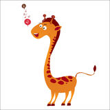 Singing giraffe. Singing cute giraffe  illustration Stock Image