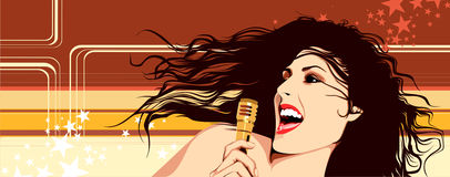 Singing Girl. With the microphone Royalty Free Stock Photos