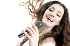 Singing girl. Pretty girl singing at the revelry party stock photos