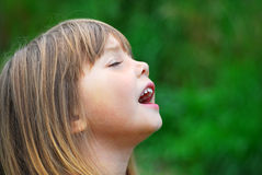 Singing girl. Portrait of a singing cute little girl Stock Photo