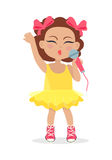 Singing Girl with Bows on Head. Little Singer. Stock Images
