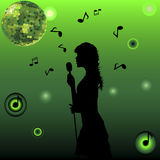 Singing girl on green background Stock Photos