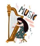 Singing girl with harp and lettering - `Music`. Vector illustration for music festival. stock illustration