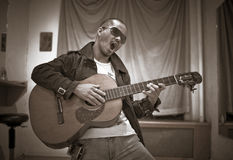 Singing with Guitar Stock Images