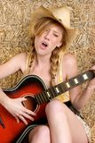 Singing Guitar Woman Stock Image