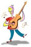 Singing guitarist. Joyful singing guitarist colourful funny cartoon Royalty Free Stock Photos
