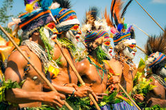 Singing half-naked men in Papua New Guinea Royalty Free Stock Photography