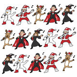 Singing Halloween and Christmas team Royalty Free Stock Image