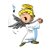 Singing happy angel. Colorful vector illustration of a singing angel with white robe Royalty Free Stock Photography