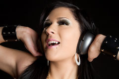 Singing Headphones Girl Stock Photography