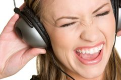 Singing Headphones Girl Stock Photo