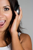 Singing Headphones Girl Royalty Free Stock Photo