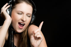 Singing Headphones Woman Stock Photos