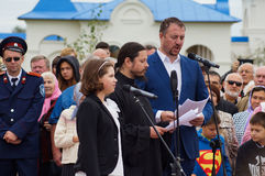 The singing of hieromonk Photios feast 536-th anniversary of the liberation of Russia from Mongol-Tatar yoke in the Kaluga region. Royalty Free Stock Images