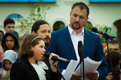 The singing of hieromonk Photios feast 536-th anniversary of the liberation of Russia from Mongol-Tatar yoke in the Kaluga region. Stock Image