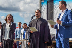 The singing of hieromonk Photios feast 536-th anniversary of the liberation of Russia from Mongol-Tatar yoke in the Kaluga. Region. Activities of the stock image