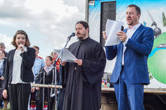 The singing of hieromonk Photios feast 536-th anniversary of the liberation of Russia from Mongol-Tatar yoke in the Kaluga. Region. Activities of the royalty free stock image