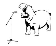 Singing hippo. Hippo singing into a microphone on a white background Stock Image