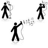 Singing. Icon illustration showing a man in three different singing poses with musical notes beside him Royalty Free Stock Photo
