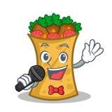 Singing kebab wrap character cartoon. Vector illustration stock illustration