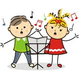 Singing kids and music stand Royalty Free Stock Image