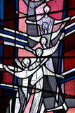 Singing ladies in stained glass Royalty Free Stock Photo