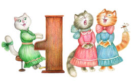 Singing lady-cats Royalty Free Stock Images