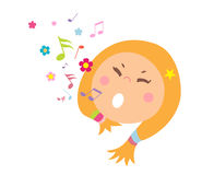 Singing Little Girl stock illustration