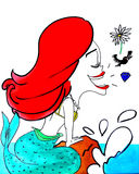 Singing Little Mermaid. Cartoon representation of daughter on 22nd birthday Stock Photos