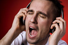 Singing man Stock Images
