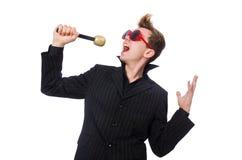 The singing man in karaoke concept Stock Photo